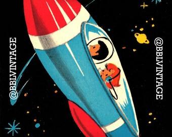 Vintage Digital Card: Mod Retro Spaceship - Cute Printable Image, Instant Digital Download, Scrapbooking, Clip Art