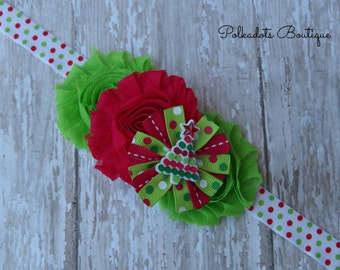 Christmas Baby Headband, Girls Christmas Headband Christmas Headband Christmas Baby Headband Lime and Red Baby Bow