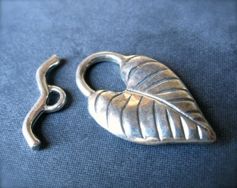 Sterling Silver Large Leaf Toggle Clasp - Solid sterling silver - 29mm X 15mm