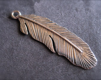 Large Native Feather - Solid Sterling Silver Charm - 37mm X 10mm