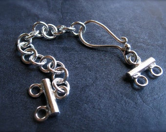 Solid Sterling Silver Plain finish Extender Chain Hook and Eye Clasp - 3 inches - two stranded