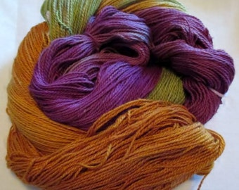 Handpainted Yarn - 4/2 Soft Cotton Yarns  TREASURE - 420 yds