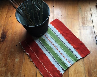 Vintage Handwoven Textile,  Embroidered Striped Wool Cloth for use as a Rug, Wall Hanging or Make a Pillow Cover