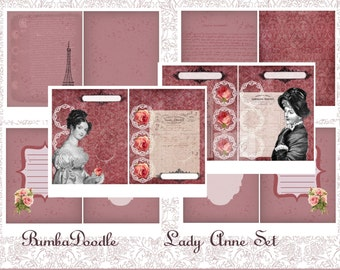 """Printable Journal Pages """"Lady Anne"""" Set 1"""