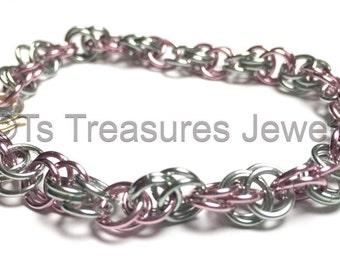 Moon42 Light Pink & Light Seafoam Chainmaille bracelet