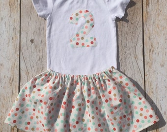 2nd birthday outfit girl polka dots print