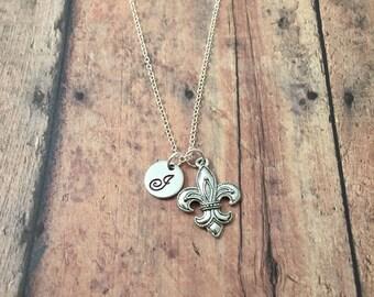 Fleur-de-lis initial necklace - Louisiana necklace, fleur de lis jewelry, Louisiana jewelry, New Orleans necklace, fleur-de-lis necklace