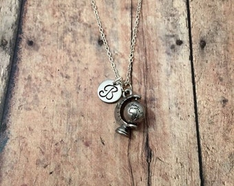 Globe initial necklace - travel jewelry, globe jewelry, world traveler jewelry, geography necklace, gift for traveler, silver globe necklace