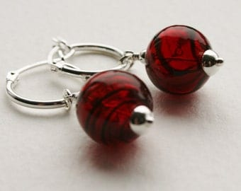 Sterling Silver Hoops Earrings Red 1950s Glass Swirl Pattern Beads