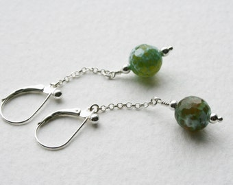 Sterling Silver Dangle Earrings Green Agate Faceted Beads