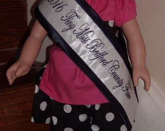 Navy satin with navy font doll sash, doll pageant sash