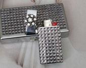 Crystal Bling Cigarette Case And Lighter
