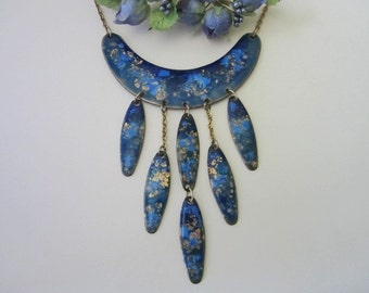Vintage Enamel on Copper Necklace blue and gold