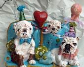 Custom Whimsical Folk Art English Bulldog Party Couch Doll Sculpture Ooak Vintage Nostagic Style