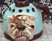 Folk Art Nostalgic English Bulldog Face Jug Dog Art Pottery Jug Boutique Original