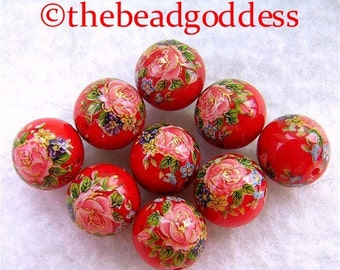 WHOLESALE 9 Japanese TENSHA Beads Pink Roses on Rich Red 10mm