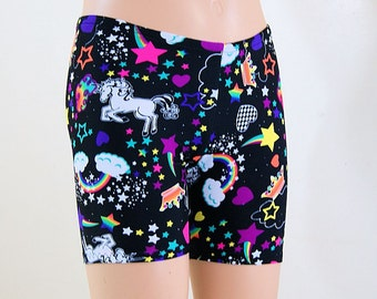 Neon Rainbow Unicorns Hearts Stars Booty Shorts Children Sizes- MTCoffinz