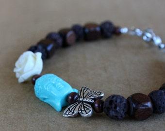Buddha Zen Butterfly Beaded Bracelet, Stretch, Wood, Lava Bead, Flower Bracelet, Gift For Her, Gift For Girlfriend, Modern, Meditation, Yoga
