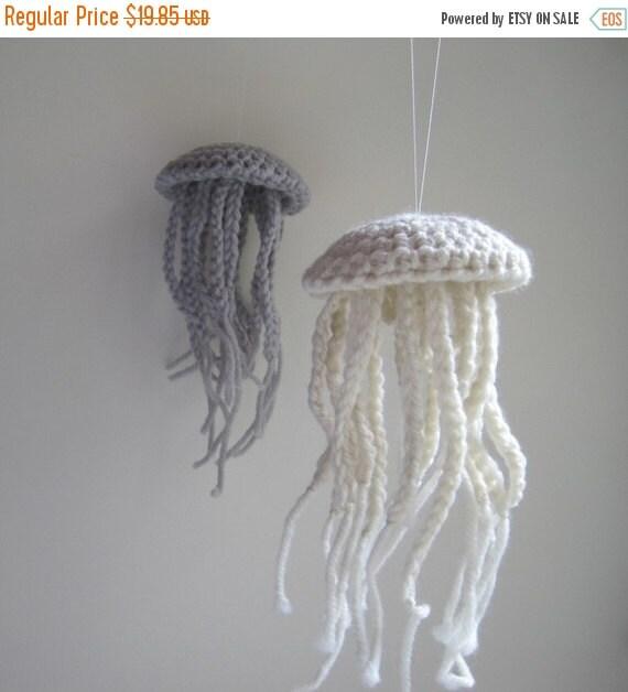 October Sale Medium Moon Jellyfish in Natural Fleece White Wool - Nautical Summer Beach Cottage Decor