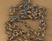 vintage chain antique brass chain RGP verdigris texture links dangle from reuse for the links fancy chain THREE FEET long one chain