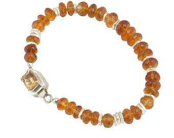 Madeira Citrine and Sterling Silver Beaded Bracelet Imperial Topaz Box Clasp, cooljewelrydesign, Minimalist, for Her Under 600