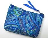 Coin purse, Mini coin purse, Small coin purse, Small zippered coin purse, Zipper coin purse, Wallet, Paisley blues