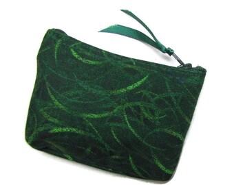Coin purse,  Small coin purse, Small zippered coin purse, Zipper coin purse, Wallet, Green Swirls