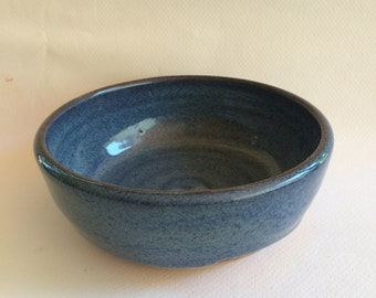 large blue bowl - ceramic mixing bowl-pottery serving bowl- handmade-  bowl- B89