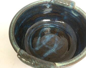 ceramic handmade dark blue casserole baking dish-stoneware-pottery-serving dish-bakeware-in stock  B48