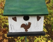 White Primitive Birdhouse Rusty Rooster Rusty Hearts