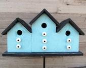 Primitive Birdhouse Triplex Three Compartment Turquoise Black White Knobs