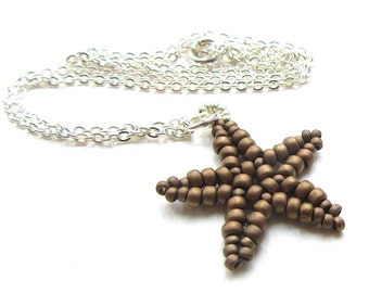 Beaded Starfish Pendant Matte Metallic Bronze Seed Beads Herringbone Stitch