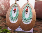 Big earrings Statement jewelry patina copper earrings Gift for wife Bohemian Jewelry