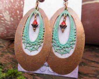 Big copper earrings patina Statement earrings Bohemian Jewelry