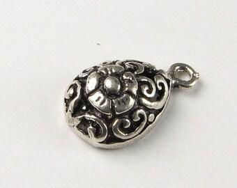 FLASH SALE Filigree Teardrop Bali Sterling Silver Charm Pendant with Flower Design (1 piece)