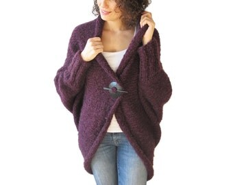 Chunky Purple Casual Cardigan