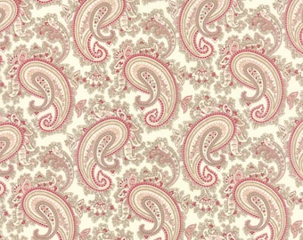 Paris Flea Market - Moda Fabric - Half Yard - Floral Paisley China White with Pinks Designer Cotton Quilt Fabric 3 Sisters Fabric 3730 11