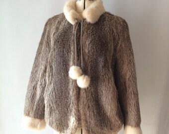 Vintage Fur Coat Jacket Two Tone Small Pom Poms 1960's 1970's sock Monkey Chic