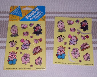 Vintage 1980's Post-it  Stickers Scratch'n Sniff 2 Sheets Bubblegum Pigs