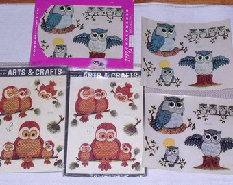 3 Packages of Vintage Owl Transfer Decals