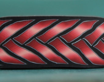 Red and Black Polymer Clay Braid Cane -'Ripple' series (22A)