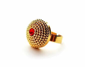 Prukamzan Arabian Gold and Red Adjustable Ring
