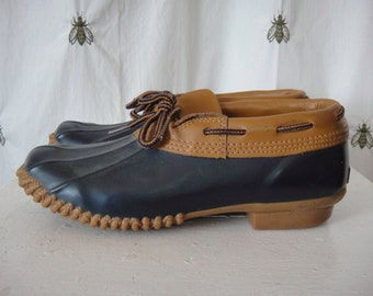 On SALE! Vintage Women's Woodstock Duck Boots, Navy Blue, Caribou Leather, Hunting Shoe,