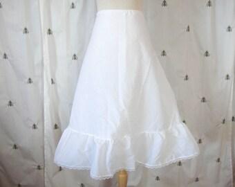 Vintage White Petticoat Crinoline Slip, Lace and Tulle, Midi Skirt Length, Rockabilly, Size Medium, Large, Mid Century