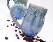 One Blue Hand Thrown/Designed Porcelain Mugs