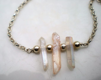 Sterling Silver and Raw Quartz Point Necklace