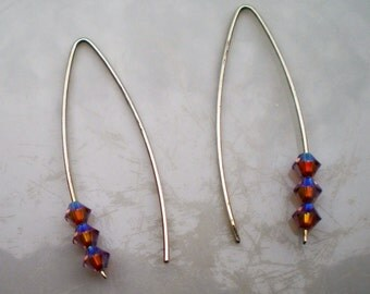 Sterling Silver and Swarovski Crystal Marquis Earrings