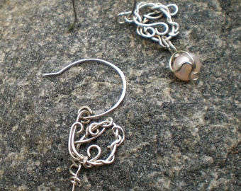 Handmade Argentium Silver and Pearl Tendril Drop Earrings