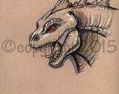 Original Toned Paper Artwork Godzilla Fantasy Fan Art by Nina Bolen OOAK