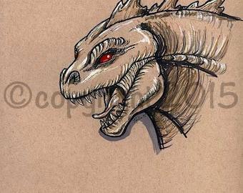 Original Toned Paper Artwork Godzilla Fantasy Fan Art by Nina Bolen OOAK